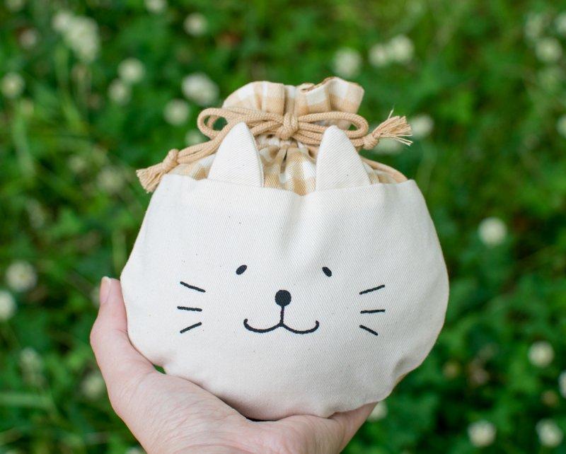 ネコぱんころりんミニ巾着 ギンガムチェック ベージュ