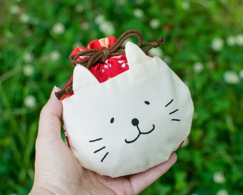 ネコぱんころりんミニ巾着 和風 桜乙女