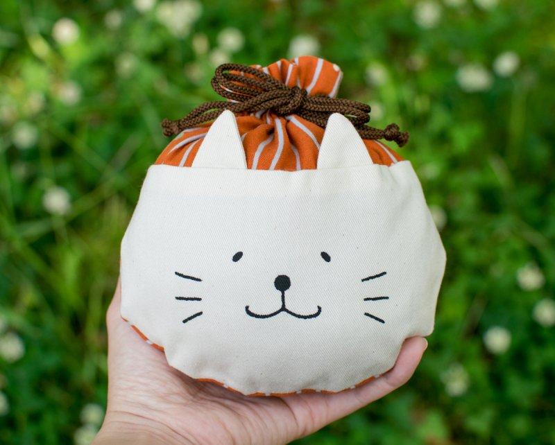 ネコぱんころりんミニ巾着 和風 ストライプ 橙