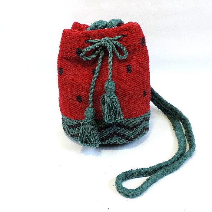 手織り巾着ショルダーバッグ スイカ