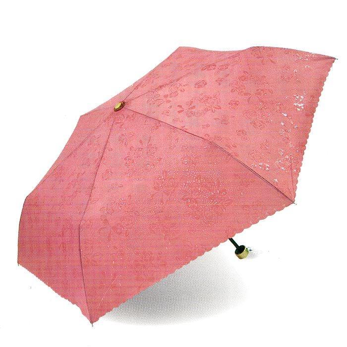 雨に濡れるとローズ柄が浮き出る晴雨兼用折りたたみ傘