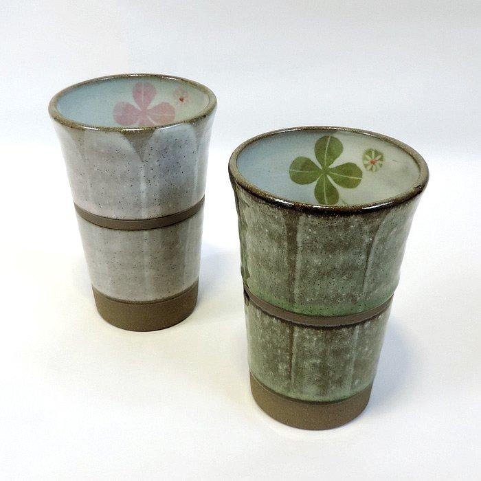 美濃焼フリーカップ ハッピークローバーペア