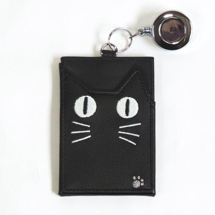 目が光る⁉ ネコの蓄光パスケース 定期入れ (リール付き)  ブラック 【メール便対応可】