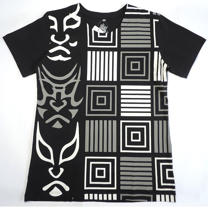 kurofune Tシャツ 隈取格子 黒 XL
