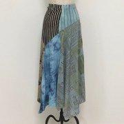 70%OFF【アニマル・バルーン】キャット&ドット パッチワーク 裾ランダムスカート