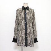 【Acryl-agitt】 黒のステンドグラス・ロングシャツ(BK)