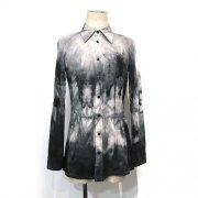 【Acryl-agitt】ash stone 斑染 長袖 カットソーブラウスシャツ(GYxBK)