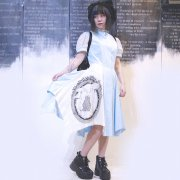 60%OFF【Acryl-CANDY】水玉スタンドネックシャツワンピ/BL