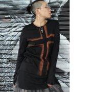【Acryl agitt】このひとを見よ クロスブリーチ 裾チュール長袖Tsh