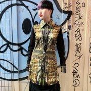 40%OFF【Acryl agitt 】輝ける黄金の時代 / 袖メッシュ ロングシャツブラウス
