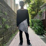 40%OFF【Acryl agitt】黒xGY斑染 切替 アシメロングT