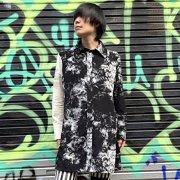 【Acryl agitt 】モノトーンクラッシュフラワー ロングシャツ(BK)