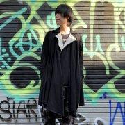 【Acryl agitt】 ドレープ ライダースカーディガン(黒)