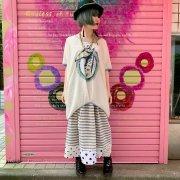 10%OFF【アニマル・バルーン】ボーダーフレアギャザースカート