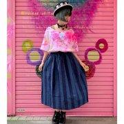 10%OFF【アニマル・バルーン】ストライプフレアギャザースカート(インディゴストライプ)