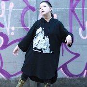 【 Ouijaboard × Acyl BONES】コラボ キモノ袖ロングパーカー ぐるぐるモンスターと妖の猫