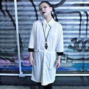 【Acryl agitt】ハーネス 五分袖 カットソーロングシャツ(WH)