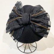 45%OFF【バラ色の帽子】1963 no CHAPEAUX DE PARIS/グランリボン ベレー(黒)