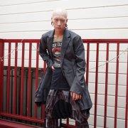 一点物 【Acryl agitt】 グレンチェック スクエアヘム ロングジャケット
