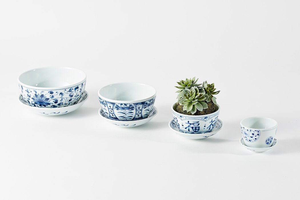 BLUE PLANTS(ブループランツ)セット(5号菊唐草・4号染果実・3.5号福福・2号花今伊万里)