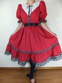 フォークダンス衣装◆裾周り3.3m黒レース使い2段ティアードスカート(赤)SK061