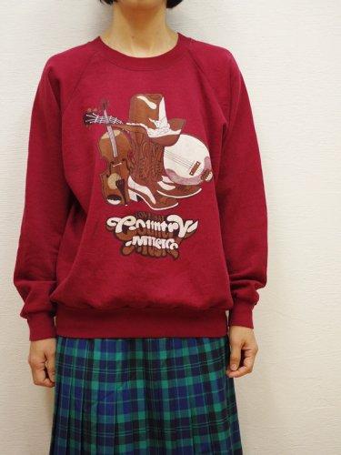 ウエスタンハットプリントのスウェットシャツ