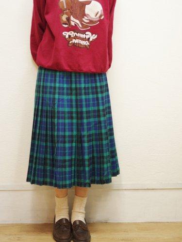 グリーンとネイビーのチェックプリーツスカート