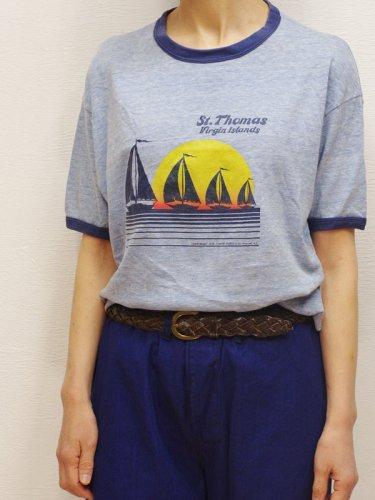 70年代のヨットプリントの霜降りリンガーTシャツ