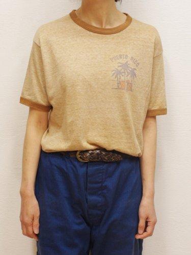 70年代の染み込みプリントの霜降りリンガーTシャツ