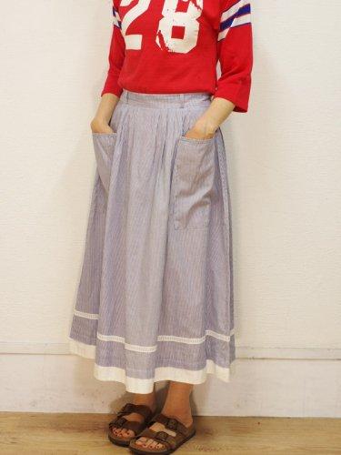 裾の切り替えブルーのストライプスカート