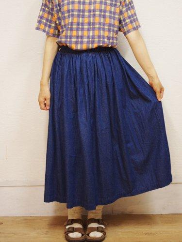 アメリカ古着のウエストゴムのデニムマキシスカート