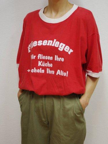 ビックサイズの赤いリンガーTシャツ