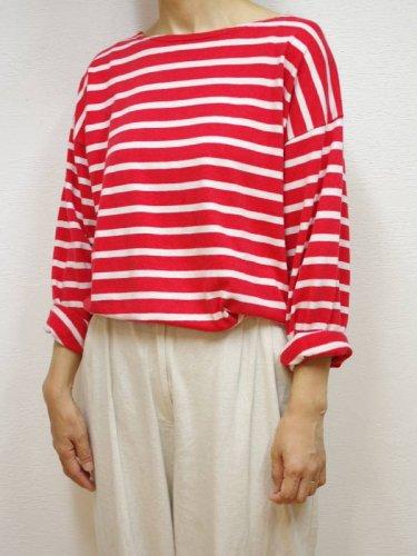 ヨーロッパ古着の赤と白のボーダー長袖Tシャツ
