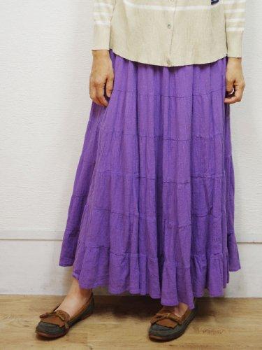 ラベンダーカラーのインド綿のティアードスカート