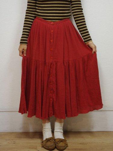 レンガ色のフロントボタンのインド綿スカート