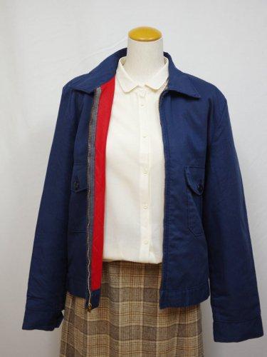 TALONジップの赤い裏地の中綿入りワークジャケット