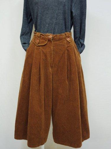 フランス古着のキャメルのコーデュロイのキュロットスカート