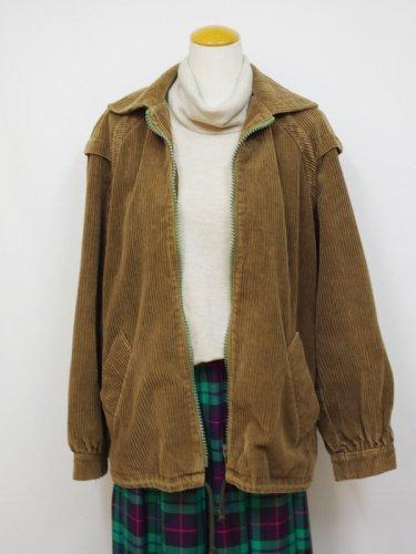 ブラウンのコーデュロイジップアップジャケット