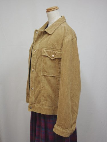 コーデュロイのベージュのシャツジャケット