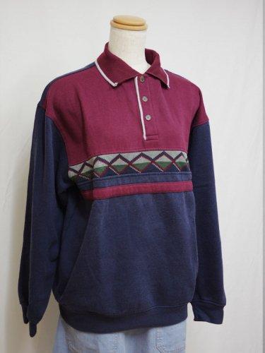 ポロカラーのスウェットシャツ