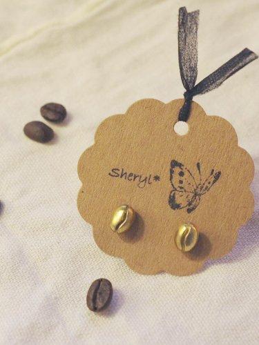 真鍮製コーヒー豆のピアス