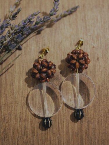 木の実とクリアパーツのピアス