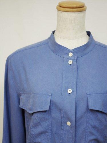 シルクのバンドカラーシャツブラウス