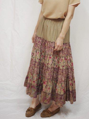 レディス古着 ロングスカート 花柄ティアード ベージュ フリーサイズ