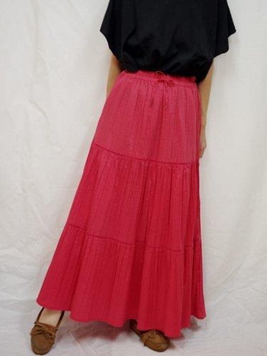 レディス古着 マキシスカート プリーツ ピンク フリーサイズ