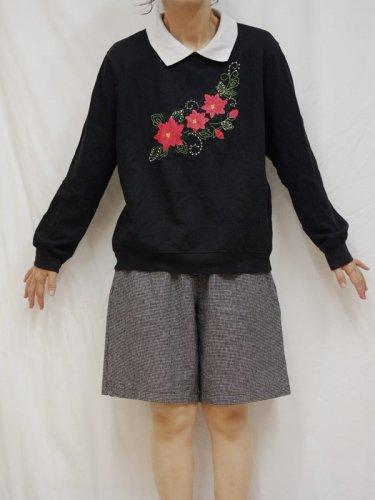 レディース古着 スウェットシャツ 襟付き 花プリント L