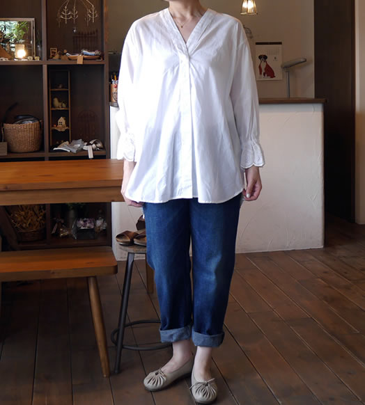 MidiUmi, ミディウミ, 2-733647, scalapped lace sleeve shirt