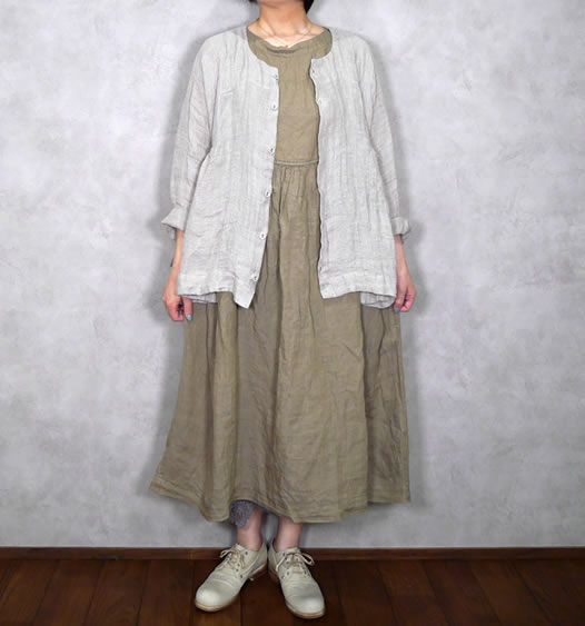 ichi Antiquite's, イチアンティークス, 600116, Linen Sulfide Dye Sleeveless Dress