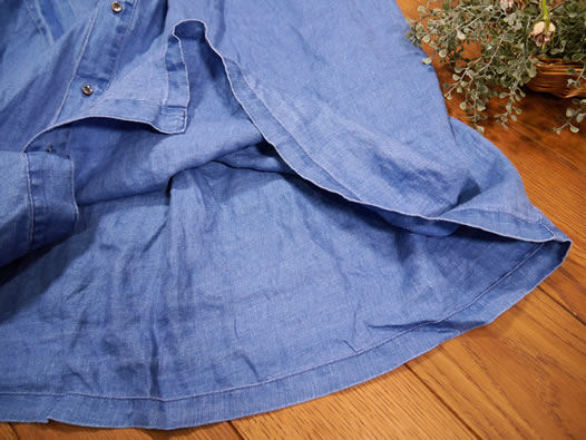 ichi Antiquite's, イチアンティークス, 600933, Linen Twill Indigo Bleach Shirt Dress