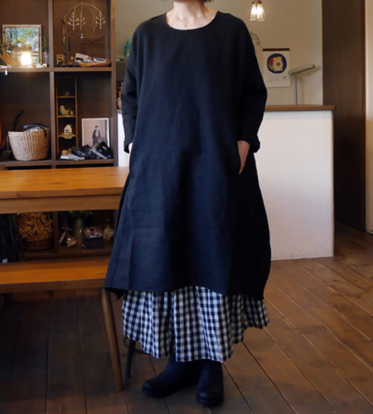 Heavenly, ヘブンリー, 750205, Wool Linen Round Neck One Piece